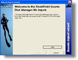 Suunto CSV Dive Manager logbook Import for SharkPoint for Windows